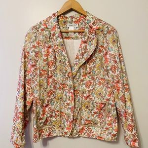 Coldwater Creek Floral Cotton Blazer with Pockets